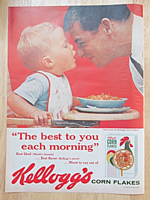 1958 Kellogg's Corn Flakes Cereal with Man & Little Boy (Image1)