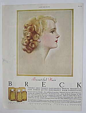 1950 Breck Shampoo with Lovely Side View Of Woman  (Image1)