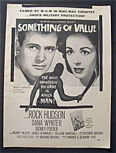 1957 Movie Ad For Something Of Value