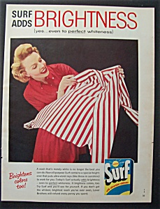 1957 Surf Whitener With Woman Admiring A Clean Shirt
