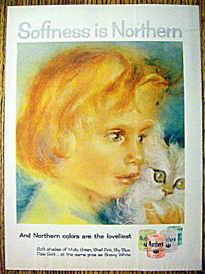 1958 Northern Toilet Tissue with Girl and a Kitten (Image1)