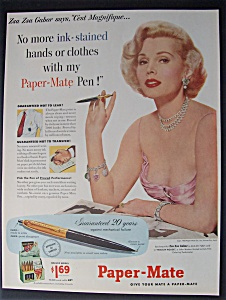 1953 Paper - Mate Pens With Zsa Zsa Gabor