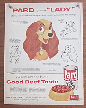 1955 Pard Dog Food With Lady And The Tramp