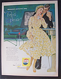 1958 Pepsi Cola with a Man & Woman at Drive In (Image1)