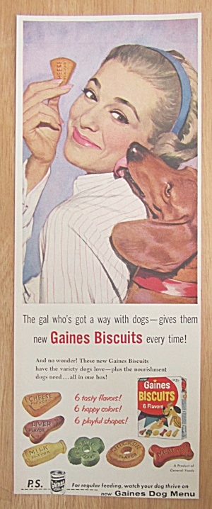 1957 Gaines Biscuits with a Dog Licking Woman's Face (Image1)
