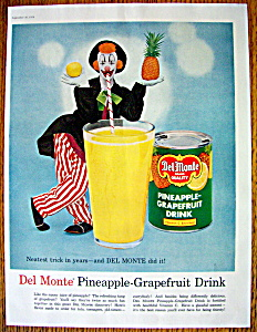 1957 Del Monte Pineapple Grapefruit Drink W/clown
