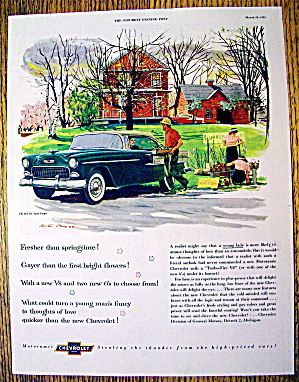 1955 Chevrolet with Man Carrying Plants To Man In Car (Image1)
