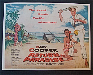 1953 Movie Ad For Return To Paradise