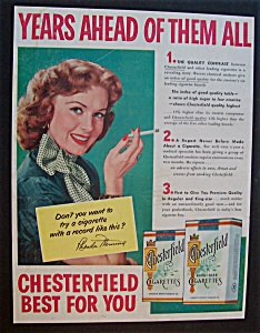 Vintage Ad:1953 Chesterfield Cigarette W/rhonda Fleming