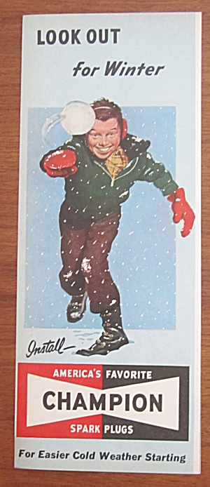 1952 Champion Spark Plugs w/ Boy Throwing a Snowball (Image1)