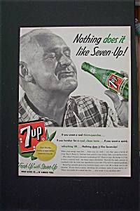 1955 7 Up (Seven Up) With Man Drinking A Bottle Of 7 Up