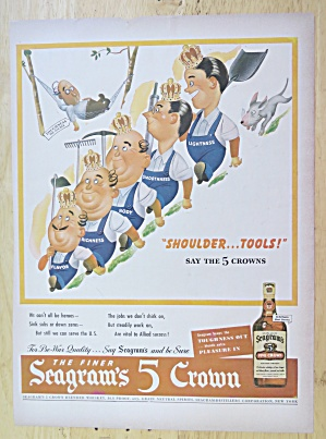 1944 Seagram's 5 Crown With 5 Men Wearing Crowns