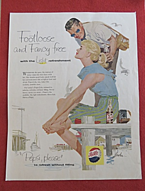 1958 Pepsi Cola with a Man & Woman By a Dock (Image1)