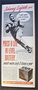 1951 Prest-O-Lite Battery w/Johnny Lujack (Chgo Bears) (Image1)