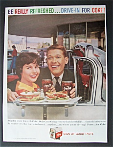 1959 Coca Cola w/Man & Woman Holding Glasses of Coke (Image1)