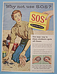 1955 S.O.S. Magic Scouring Pads with Woman Cleaning  (Image1)
