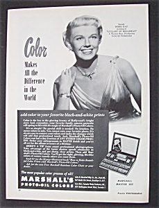 Vintage Ad:1951 Marshall's Photo-oil Colors W/doris Day