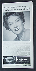 1951 Jergens Face Cream With Gloria Swanson