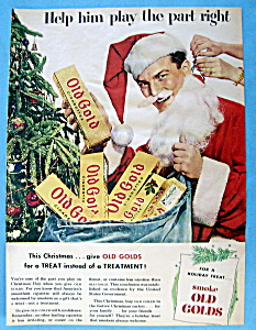 1951 Old Gold Cigarettes With Man Dressed As Santa