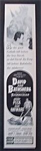 1951 Movie Ad For David & Bathsheba