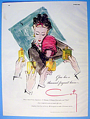 1944 Coty with Lovely Woman & Bottles Of Cologne (Image1)