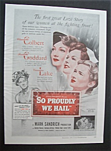 1943 Movie Ad For So Proudly We Hail