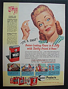 1946  A - Penn  No - Rubbing  Wax  For  Floors (Image1)