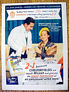 1952 Ad: Chesterfield Cigarettes With Dorothy Lamour