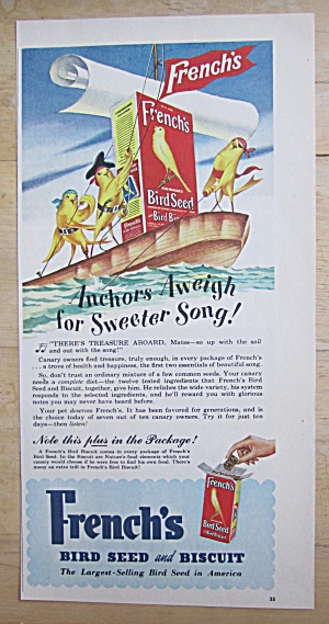 1949 French's Bird Seed with Birds on a Boat  (Image1)