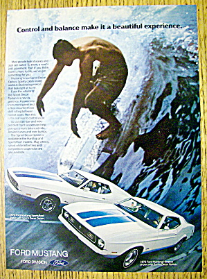 1972 Ford Mustang With Man Surfing