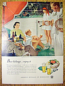 1949 Beer Ad By Douglas Rockwell (Friends & Tennis)