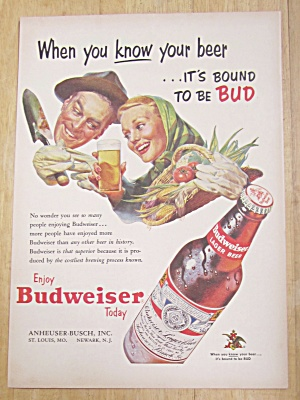 1953 Budweiser Beer With Man & Woman's Face