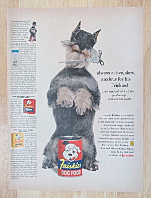 1958 Friskies Dog Food w/Dog with Can Opener in Mouth (Image1)