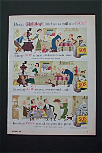 1956 S. O. S. Scouring Pads with Busy Holiday Kitchens (Image1)
