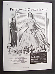 1940 Movie Ad For All This And Heaven Too