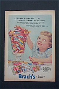 1956 Brach's Candy With Girl Digging Into Bowl