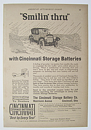 1923 Cincinnati Storage Batteries With Car Driving