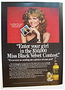 1978 Black Velvet Whiskey With Model Cheryl Tiegs