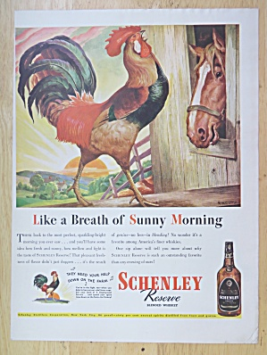 1944 Schenley Reserve Whiskey With Rooster & Horse
