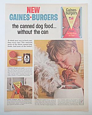 1963 Gaines Burgers Dog Food with Boy Feeding Dog  (Image1)