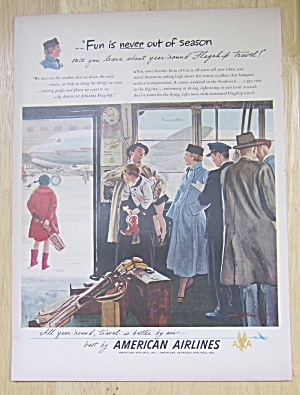 1949 American Airlines With People Waiting For A Plane
