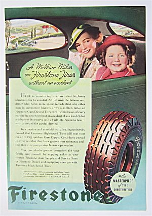 1936 Firestone Tires W/mother & Daughter In Car Window