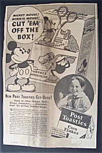1934 Post Toasties With Mickey Mouse