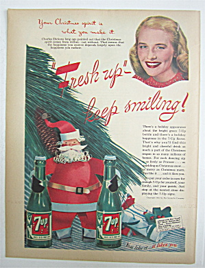 1945 Seven Up (7 Up) with Santa Holding Two Bottles (Image1)