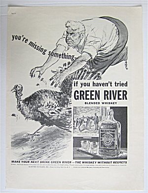 1937 Green River Whiskey With Man Chasing Turkey