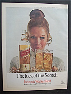 1970 Johnnie Walker Red With A Woman Carrying A Tray
