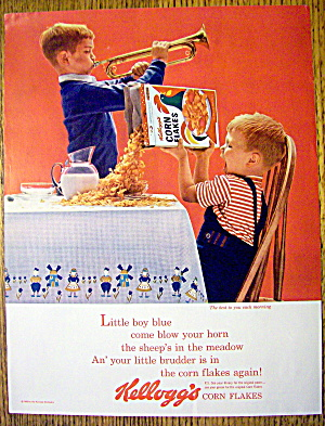 1963 Kellogg's Corn Flakes With Boy Playing Horn