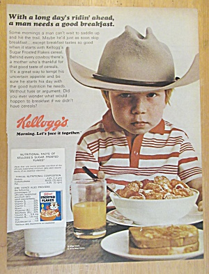 1971 Kellogg's Frosted Flakes Cereal with Boy As Cowboy (Image1)