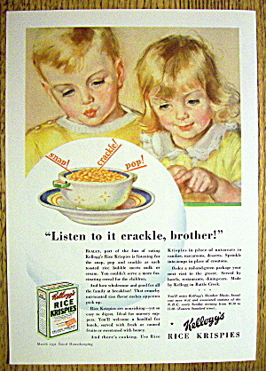 1931 Kellogg's Rice Krispies Cereal w/Boy & Girl & Bowl (Image1)