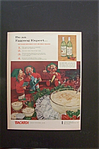 1958 Bacardi Rum With 3 Elves By A Punch Bowl